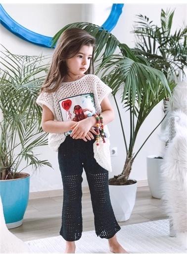 Hilal Akıncı Kids Kiz Çocuk Peçlı Trıko Bluz Pantolon Çanta Üçlü Plaj Takim  Beyaz